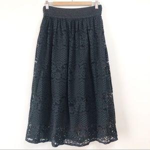 Metro Wear Black Floral Lace Full Skirt